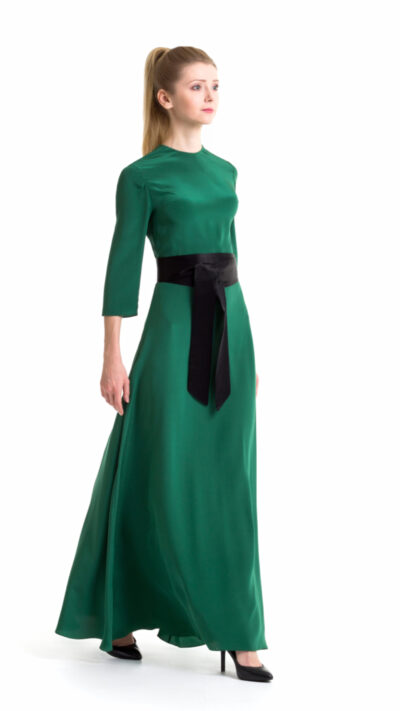 Green colour long gown Tonia with black belt (tie). Right side view